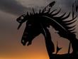 Horse head sculpture at sunset