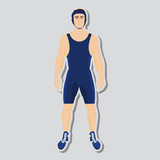 Vector wrestler fighter