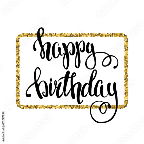 In de dag Retro sign Hand-drawn card. Happy Birthday card. Vector illustration.Lettering.