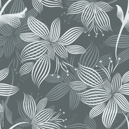 obraz lub plakat Grey Ornamental Flowers Seamless Pattern