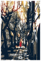 woman in red coat standing on pathway in city park,illustration painting © grandfailure