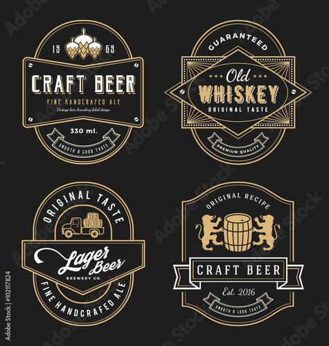 Fototapeta Vintage frame design for labels, banner, sticker and other design. Suitable for whiskey, beer, wine, beverage and premium product. All type use free font.