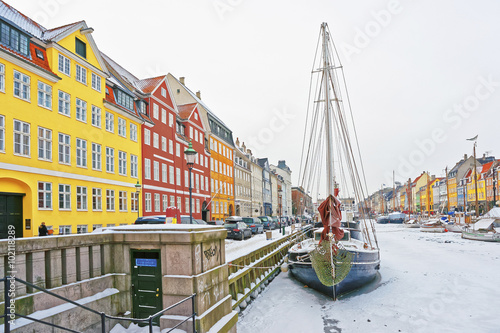 Plagát, Obraz Colored facades of Nyhavn in Copenhagen in Denmark in winter