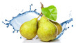 fresh water splash on pears isolated