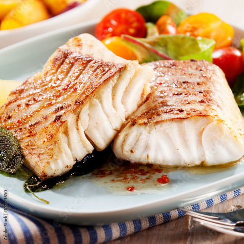 Fillets of savory marinated pollock