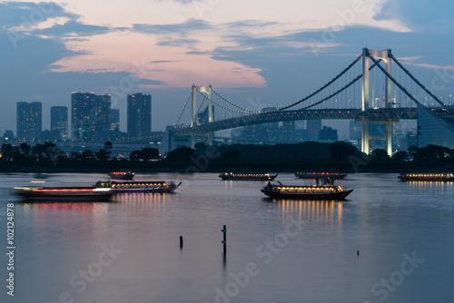 Plagát, Obraz Odaiba Bridge in tokyo after sunset