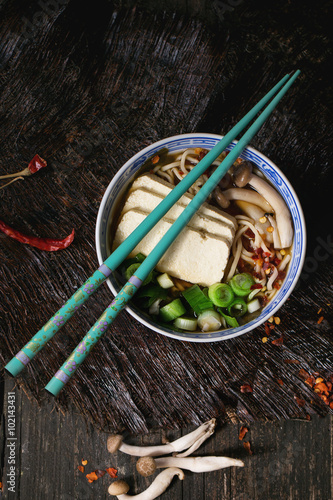 Poster Asian soup ramen with feta cheese