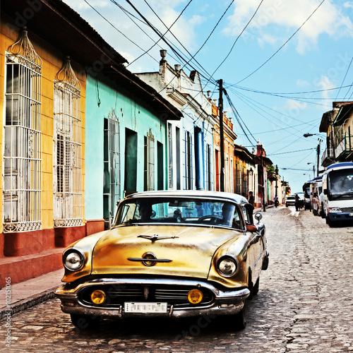 Cuba, Trinidad, Vintage Car Poster