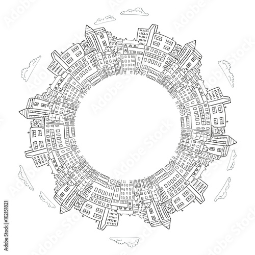 Round frame with doodle city buildings. Vector illustration with place for text. Decorative element for infographics, brochures. - 102151821