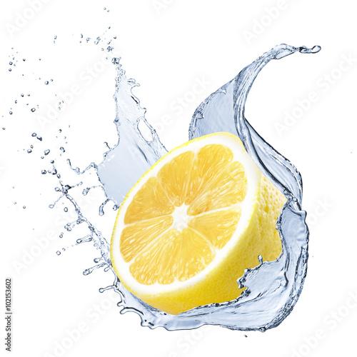 Fresh Lemon With Water Splash