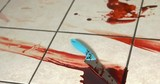 Knife laying on floor surrounded by blood on tiles.