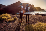Fototapety Young couple traveling nature
