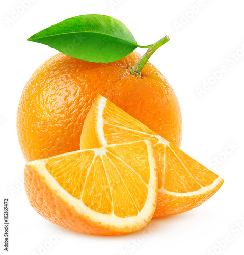 Isolated orange fruit and slices