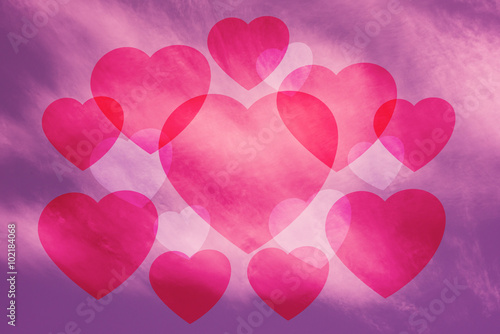 Foto op Aluminium Roze Valentine Sky background , pink , heart
