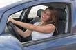 Leinwanddruck Bild - Attraktive Frau singt im Auto