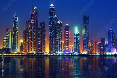 View of Dubai by night Poster