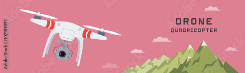 Aluminium Candy roze drone with a camera photography or video , flat design , landscape background