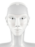Robotic head looking into the camera.