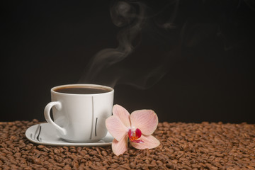Hot coffee and orchid