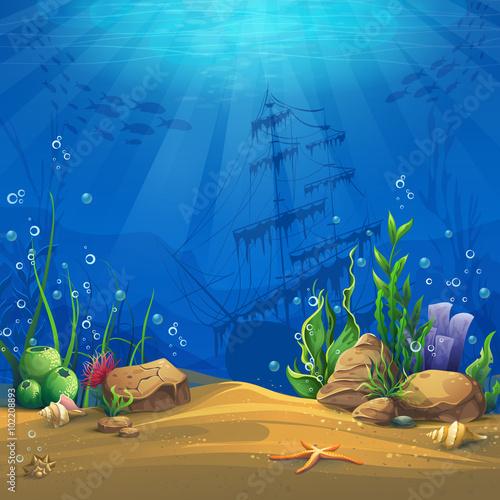 Underwater world Vector illustration background