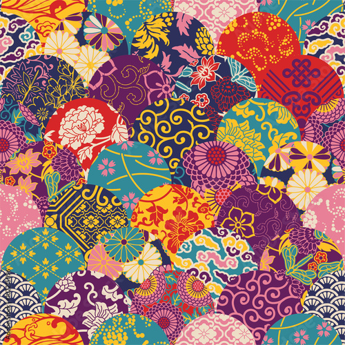 Poster Eastern style fabric patchwork, vector seamless pattern