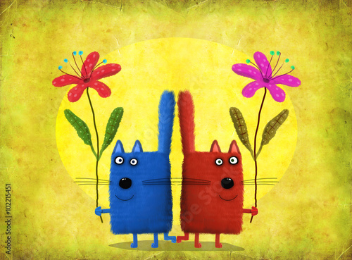 Fototapeta Cats-Twins Holding Flowers On Yellow Background