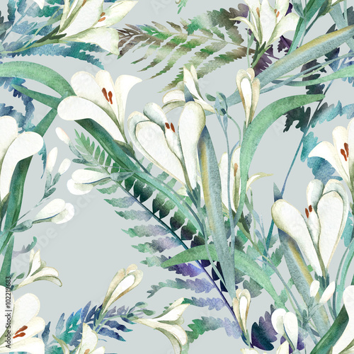 Seamless Pattern with Crocosmia Flowers - 102219683