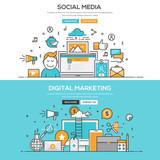 plochý design linky koncepce sociální meia digitální m