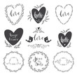 Set of decorative design elements frames, hearts, embellishments. Vector