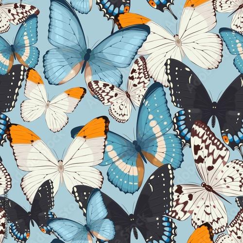 Fototapeta Colorful butterflies seamless