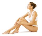 Woman Body Beauty, Model Girl Sitting in White Underwear