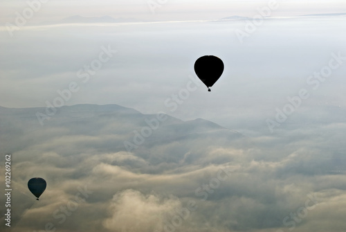 Hot Air Ballons flying on the sky of Cappadocia.Turkey. - 102269262
