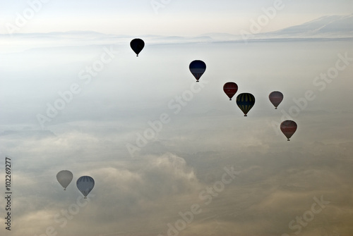 Hot Air Ballons flying on the sky of Cappadocia.Turkey. - 102269277