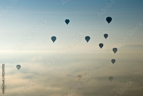 Hot Air Ballons flying on the sky of Cappadocia.Turkey. - 102269282