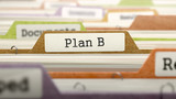 File Folder Labeled as Plan B in Multicolor Archive. Closeup View. Blurred Image. 3d Render.