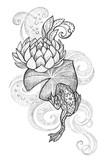 Tattoo, Frog on a lotus leaf - 102286082