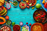 Mexican food mix colorful background Mexico - 102287484