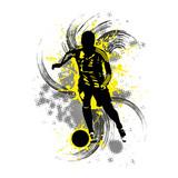 Fußballspieler vor gelbem Hintergrund mit Farbspritzern