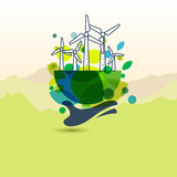 Human hand holding earth with wind turbines. Vector outline illu