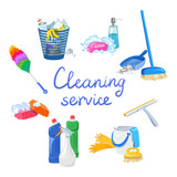 cleaning service elements isolated