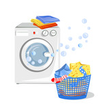 washing machine and clean clothes isolated