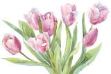 Tulips bouquet watercolor illustration