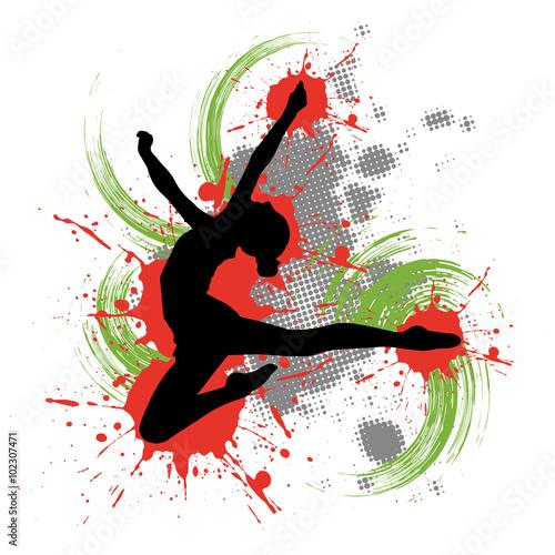 Obraz na Szkle Tänzerin vor buntem Hintergrund mit Farbspritzern