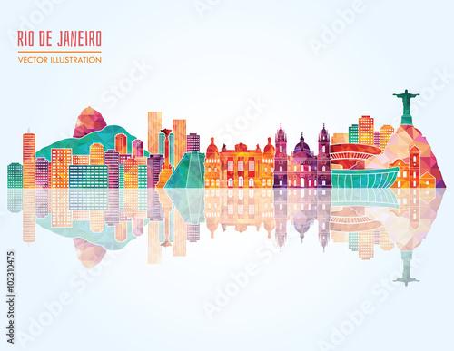 Rio De Janeiro skyline. Vector illustration