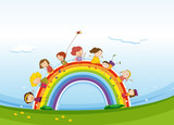 Fototapety Children standing over the rainbow