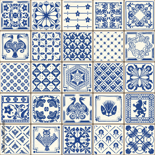 Fototapeta Indigo Blue Tiles Floor Ornament Collection. Gorgeous Seamless Patchwork Pattern from Colorful Traditional Painted Tin Glazed Ceramic Tilework Vintage Illustration. Vector template background Azulejos
