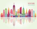 New York detailed skylines. vector illustration - 102315088
