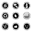 Food product badges collection 1. (100% Natural, Gluten free, non GMO, Soy free, Milk free, Verified by customers...)