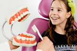 Little girl earning about dental hygiene