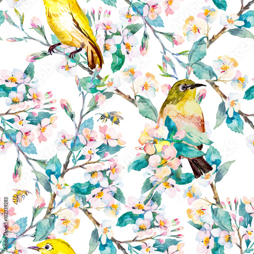 Spring flowers and birds. Pattern. Watercolor. Vector. Flowering branch. - 102339283